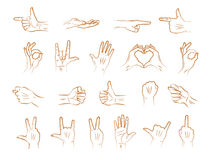 Different outline hands gestures. With interpretations of various emotions and signs. Vector line illustration art Stock Image