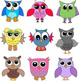 Different owls. Nine different colorful owls to use o childrens clothes or accessories Royalty Free Stock Photo
