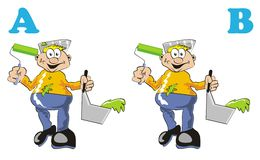 Different painters. Game for children's: find the 7 differences between these two painters Stock Illustration