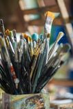 Different painting brushes Royalty Free Stock Photos