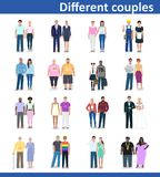 Different couples, vector illustration Royalty Free Stock Photography