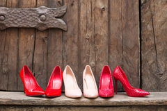 Different pairs of high heel shoes Royalty Free Stock Photo