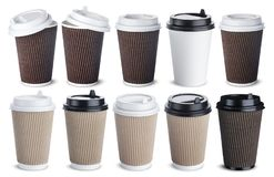 Different paper coffee cup isolated on white background. Mock up. Collection Stock Photography