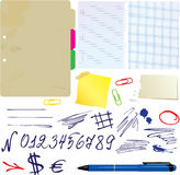 Different papers, hand drawn numbers Stock Photo