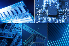 Different parts of a computer. Collage of different computer parts in blue and green lights Stock Images