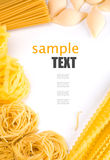 Different pasta and noodle on white background Royalty Free Stock Photography