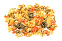 A different pasta in three colors. A different pasta in three colors on the white background Stock Image