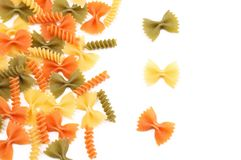 Different pasta in three colors Stock Image
