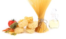 Different pasta tomato and olive oil Royalty Free Stock Images