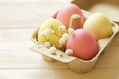 Different pastel color Easter eggs laid and arranged in beautiful composition with white wildflowers. Greeting card with copy text royalty free stock photos