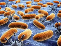 Different pathogen bacteria on the surface. 3d render Royalty Free Stock Image