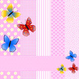 Different pattern and butterflies Royalty Free Stock Photo