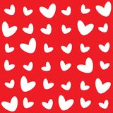 The different pattern of white hearts on a red background vector illustration