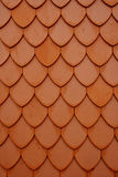 Different patterns of ceramic tiles on the roof Stock Image