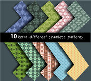 10 different patterns  seamless vector. 10 Retro different vector seamless patterns for wallpaper , background Stock Photos