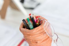 Different pens - top view royalty free stock images