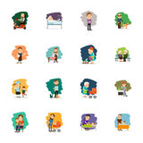 Different people characters icons set. Different people characters color icons set. Vector illustration Stock Image