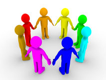 Different people in a circle. Different colored 3d people in a circle Stock Photo