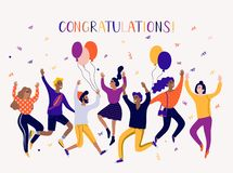 Free Different People Dancing And Celebrate. Cartoon Style, Flat Illustration. Royalty Free Stock Photography - 139378417