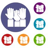 Different people hands raised up icons set Royalty Free Stock Image
