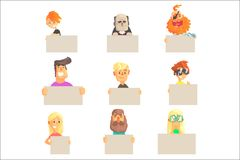 Different people holding blank boards set. Smiling cartoon men and women characters with empty banners vector. Illustrations isolated on a white background stock illustration