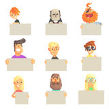Different people holding blank boards set. Smiling cartoon men and women characters with empty banners vector. Illustrations isolated on a white background royalty free illustration