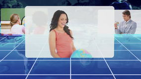 Different people holding an earth globe with an Earth image courtesy of Nasa.org stock video footage