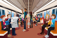 Different people inside crowded subway Royalty Free Stock Image