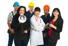 Different people jobs announcement royalty free stock image