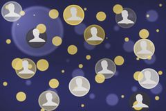 Different people network in screen royalty free illustration