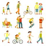 Different people in outdoors physical activity Royalty Free Stock Images