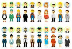 People occupation characters set in flat style isolated on white background Stock Image