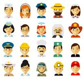People occupation characters avatars set in flat style isolated on white background. Stock Photo
