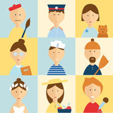 Different people professions characters set Royalty Free Stock Images