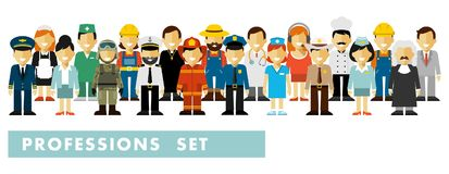People occupation characters set in flat style isolated on white background Royalty Free Stock Photo