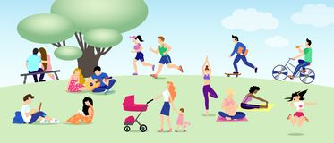 Different people relax in park, run, ride bike, skateboard, lovers. Mom, Pregnant yoga, girl with book, guy with laptop vector illustration