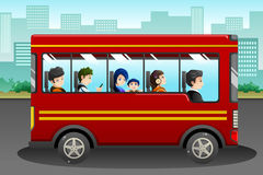 Different people riding a bus. A vector illustration of different people riding a bus Stock Photo
