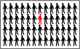 Different people. Silhouettes of people walking and one goes the other way Royalty Free Stock Photo