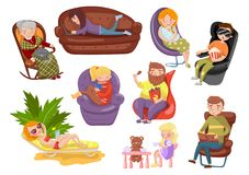 Different people sitting and lying on different chairs, sedentary lifestyle cartoon vector Illustrations stock illustration