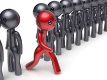 Different people stand out from crowd individuality character. Different people stand out from the crowd individuality character red unique man think differ Stock Photography