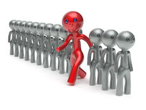 Different people stand out from the white crowd red man vote Royalty Free Stock Image
