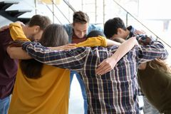 People standing together in circle indoors. Unity concept royalty free stock photography