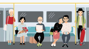 Different people at subway. Trendy young girls and guys at underground train. Horizontal colorful vector illustration in. Cartoon style Royalty Free Stock Photo