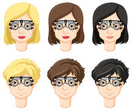 Different people try on test-glasses Royalty Free Stock Photos
