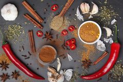 Chilli peppers and other spices top view. Different peppers and herbs at dark background view above stock photos