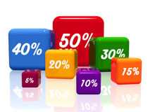 Different percentages in color Royalty Free Stock Image
