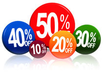 Different percentages in color circles Stock Photo