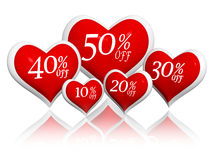 Different percentages off discount in red hearts banners Stock Image