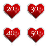 Different percentages off discount in red hearts buttons Stock Photography