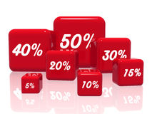 Different percentages in red. 3d red cubes with different percentages in white Stock Photo